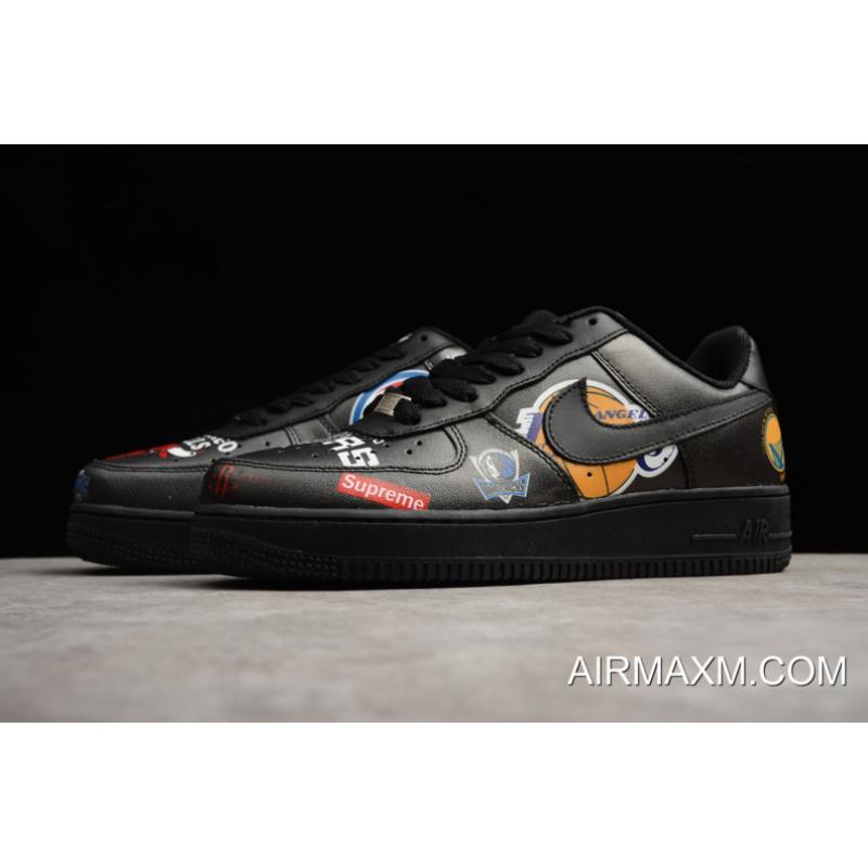 meet f7429 4a2e8 Latest Supreme X Nike Air Force 1 Low NBA Black Men's And Women's Size