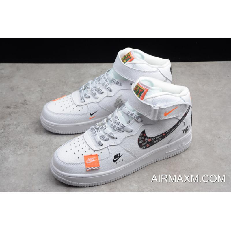 "WomenMen Nike Air Force 1 Mid ""Just Do It"" WhiteBlack Total Orange BQ6474 100 For Sale"