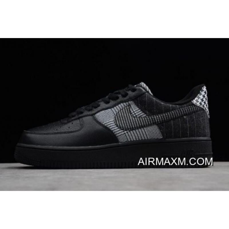 "detailed look a4f15 9134a Women Men Nike Air Force 1 Low ""Patchwork"" Black Black-White ..."