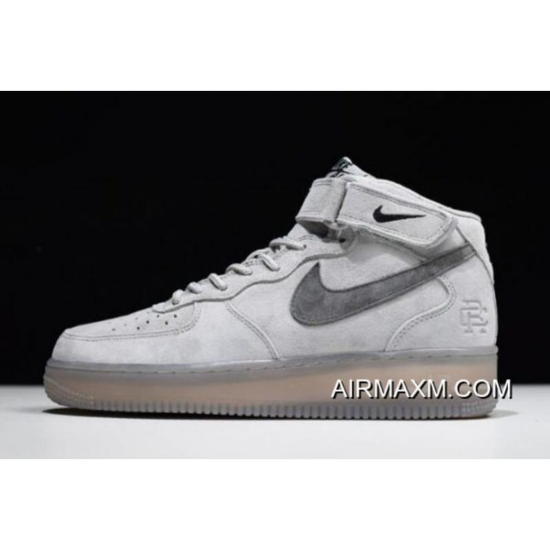 Women Men Reigning Champ X Nike Air Force 1 Mid  07 Light Grey Black ... 4619e27d5f