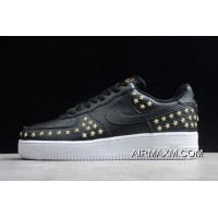 "Womens Nike Air Force 1 Low ""Star-Studded"" Black/Metallic Gold-White AR0639-001 New Style"