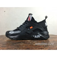 Discount Nike Air Huarache 4 Customized Ultra Joint OFF WHITE AA3841-001 All Black