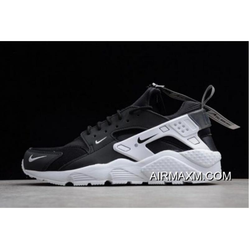 797d42b10b00 Women Men Authentic Nike Air Huarache Run ZIP QS Black White BQ6164-001 ...