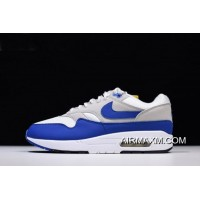 """Men's And Women's Nike Air Max 1 OG Anniversary """"Royal"""" White/Game Royal-Neutral Grey 908375-101 Discount"""
