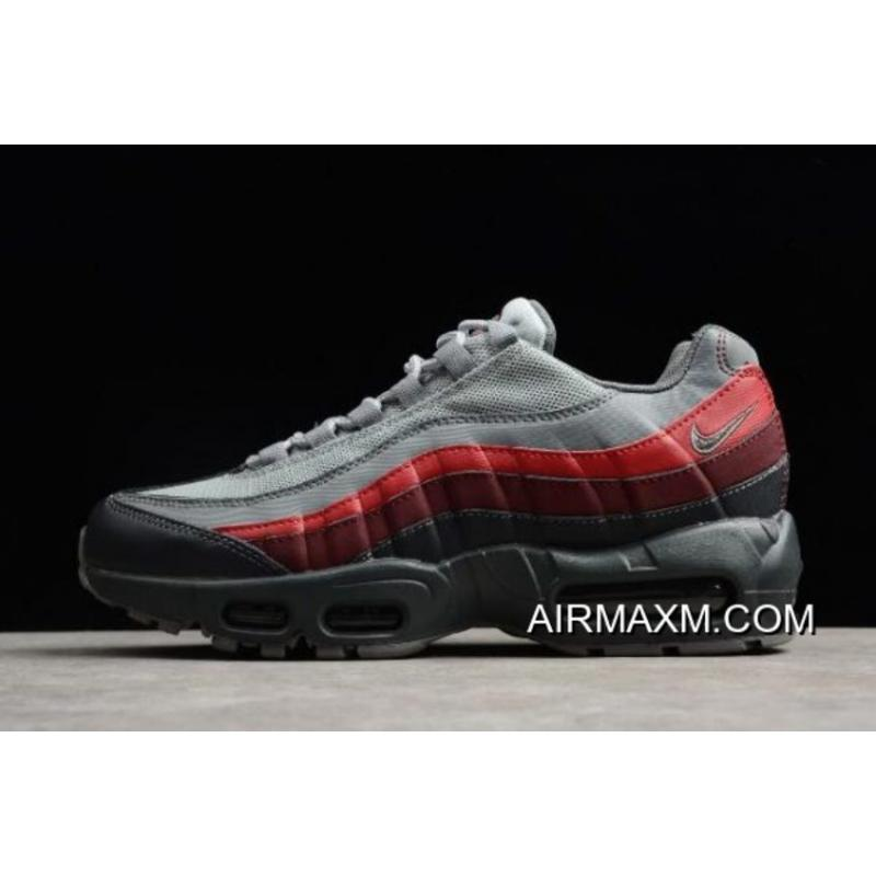 bf14b27cbed04 New Year Deals Nike Air Max 95 Essential Anthracite Cool Grey-Red Running  Shoes ...