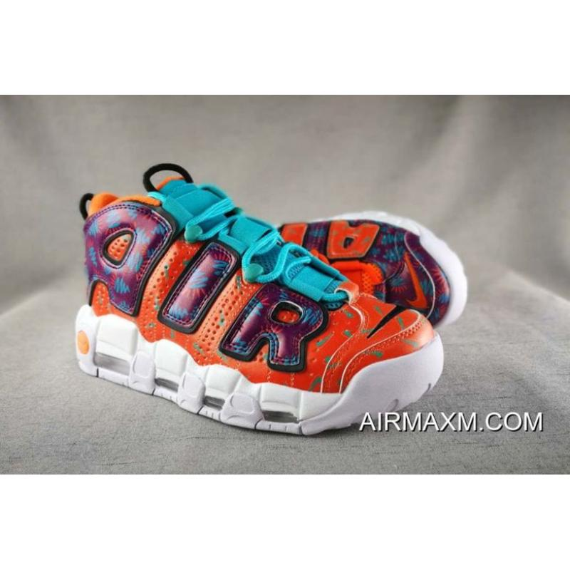 """new style 99c9a a392d ... Women Men Nike Air More Uptempo """"What The 90s"""" Total Orange Black ..."""