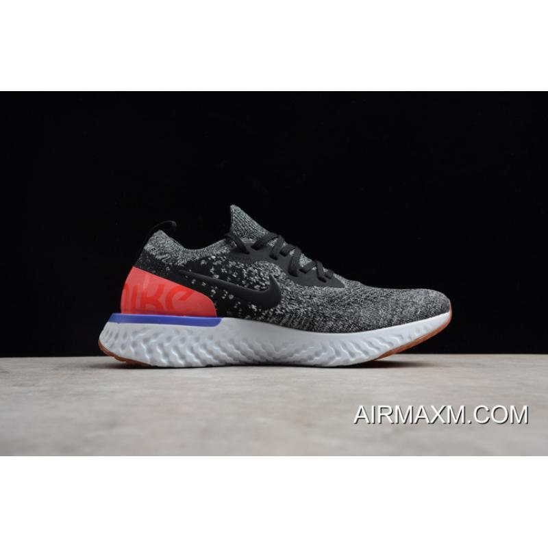"708086fc9d0 ... Nike Epic React Flyknit ""Hyper Crimson"" Black White Hyper Crimson Men s  Running ..."