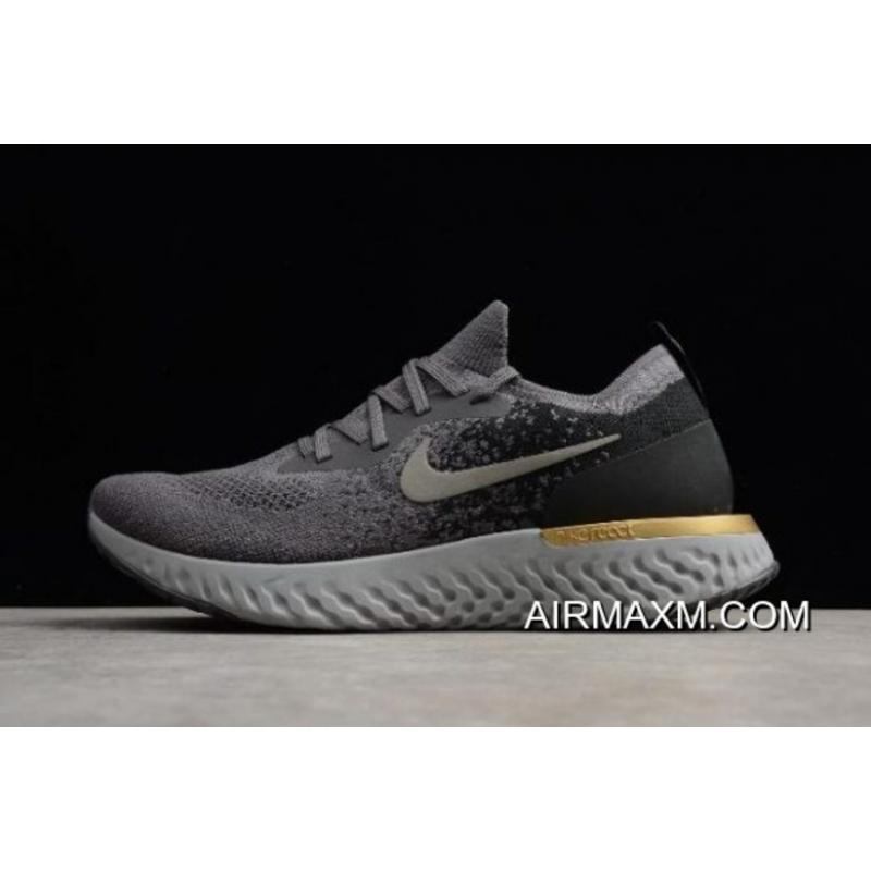 finest selection af5a9 fbeae Best Nike Epic React Flyknit GreyBlack-Gold Running Shoes AQ0067-009 ...