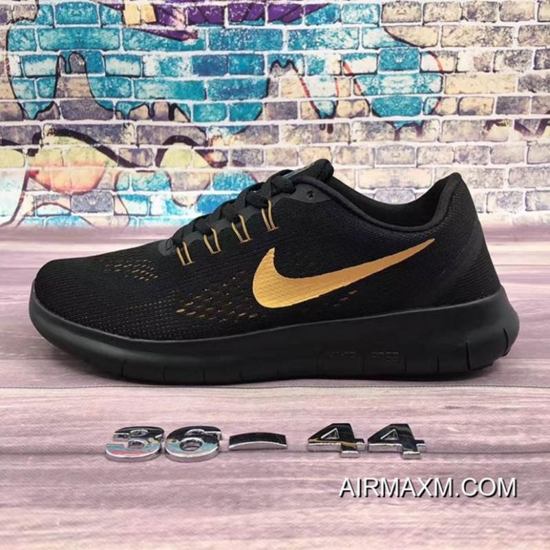002b8487348c Nike Free RN Black Golden Free Shipping ...