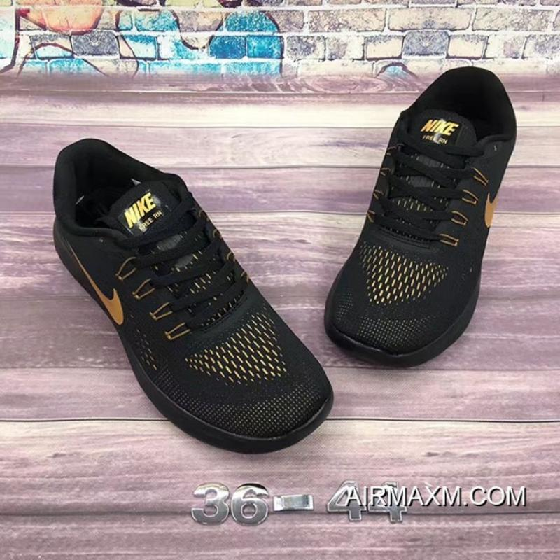 2830762f634f ... Nike Free RN Black Golden Free Shipping