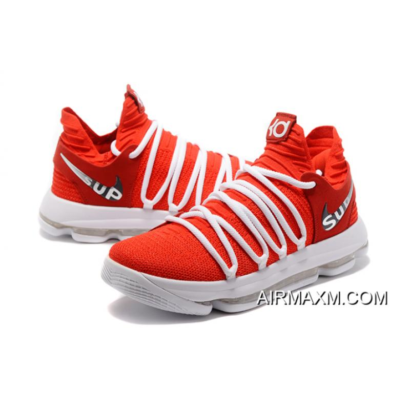 best service 32b11 114d4 ... Supreme X Nike KD 10 University Red White Men s Basketball Shoes Best