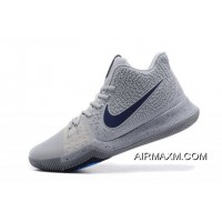 Men's Nike Kyrie 3 Cool Grey/Anthracite-Polarized Blue Basketball Shoes 852395-001 New Release