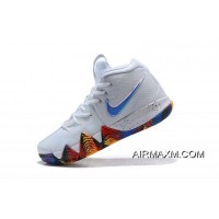 """Men's Nike Kyrie 4 NCAA """"March Madness"""" White/Multi-Color 943806-104 Super Deals"""