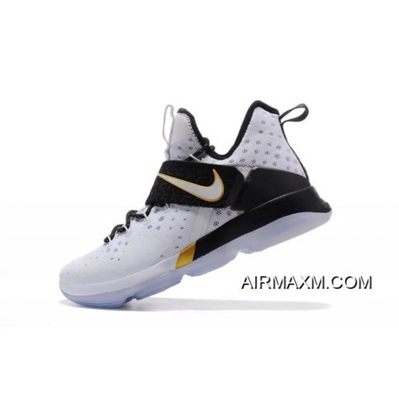 "c39e4ba97da10 Men s Nike LeBron 14 ""BHM"" White Metallic Gold-Black 860634-100 New ..."