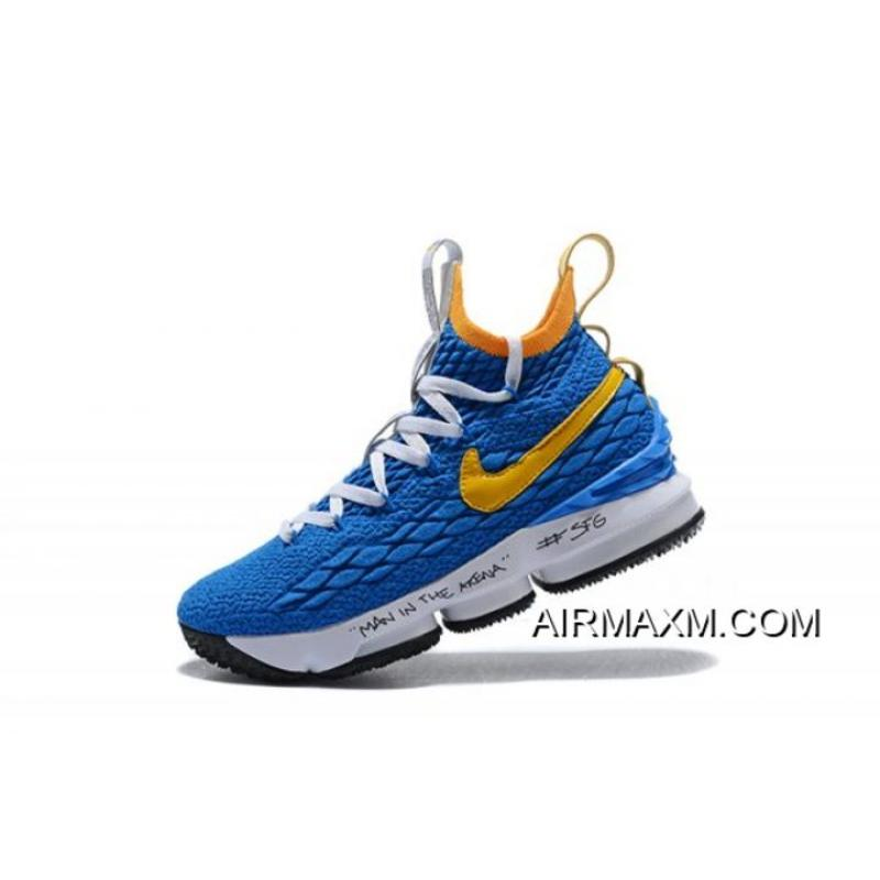 """hot sale online 491fd a0d38 New Release Men's Nike LeBron 15 """"Waffle Trainer"""" Blue/Yellow Basketball  Shoes"""