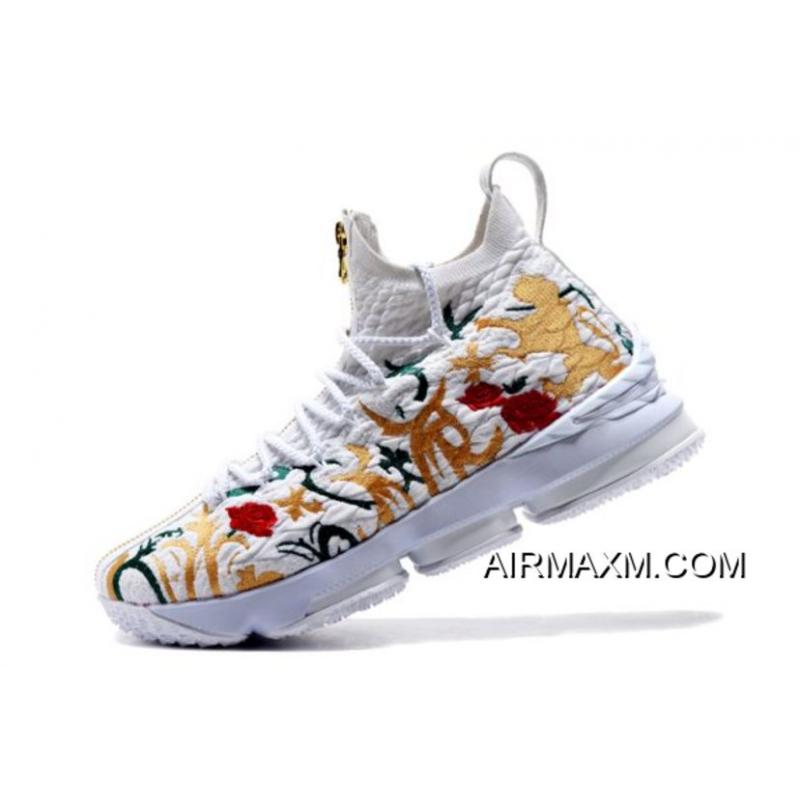 """info for 0633d c819f KITH X Nike LeBron 15 """"Floral"""" White/Floral-Gold Men's Basketball Shoes  Super Deals"""