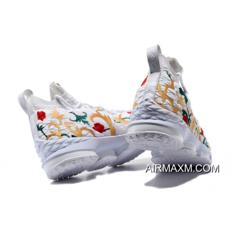 """best sneakers 03723 5c5d3 ... KITH X Nike LeBron 15 """"Floral"""" White Floral-Gold Men s Basketball Shoes  ..."""