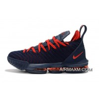 Nike LeBron 16 Navy Blue/University Red Basketball Shoes On Sale Free Shipping