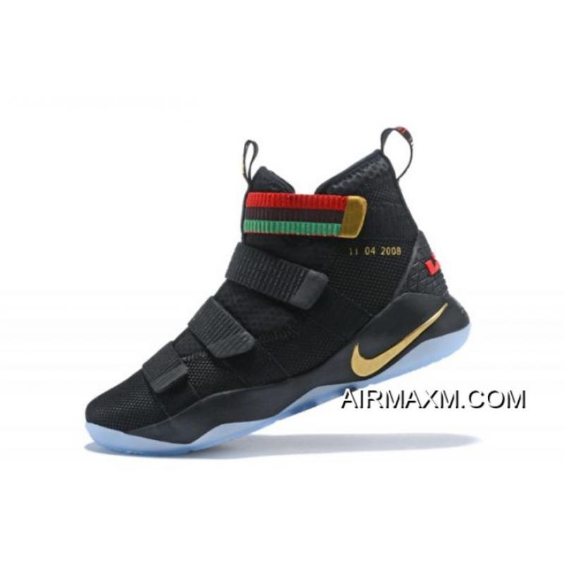 """a0e13ca2a76 Nike LeBron Soldier 11 """"BHM"""" Black Green Red Men s Basketball Shoes  Authentic ..."""