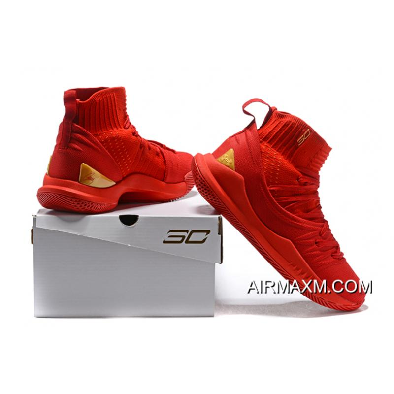 "7c90a1bf150b ... Under Armour Curry 5 ""Chinese New Year"" Red Gold Men s Basketball Shoes  New Release ..."