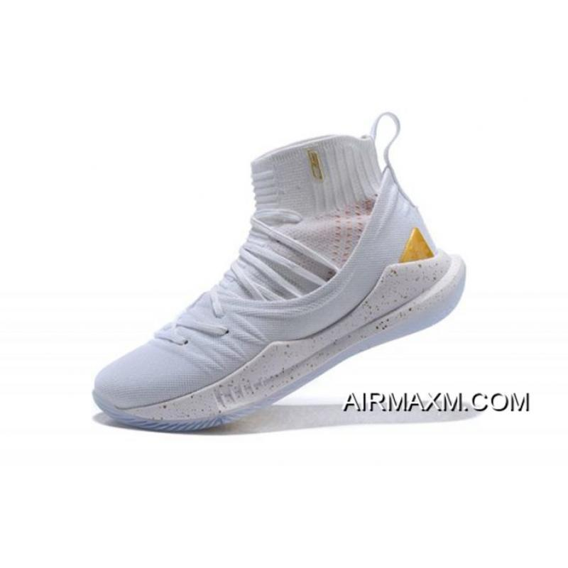 0c34ace7cec6 New Under Armour Curry 5 White Gold Men s Basketball Shoes For Sale ...
