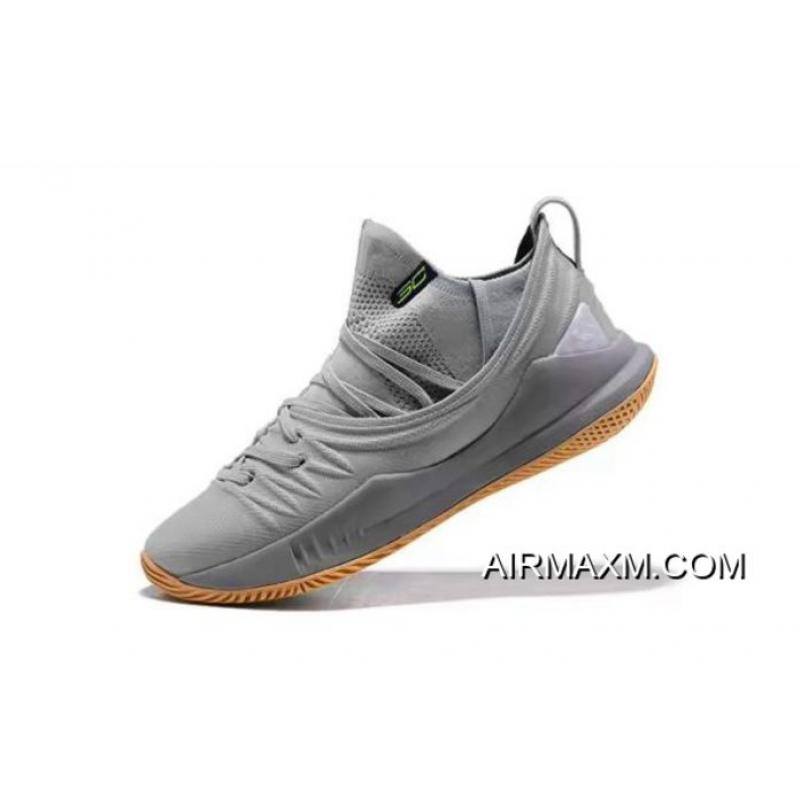 a6c7c257dfb3 Stephen Curry s Under Armour Curry 5 Low-Top Grey Gum Basketball Shoes  Online ...