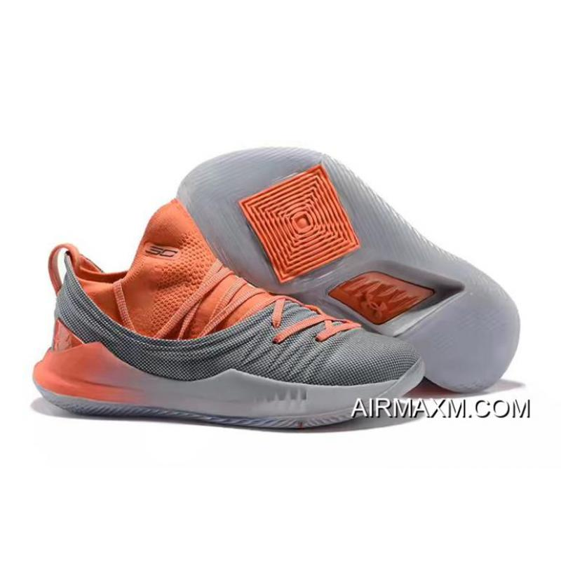 3cf1b1b2bc7 ... Stephen Curry s Under Armour Curry 5 Low-Top Orange Grey Basketball  Shoes Best
