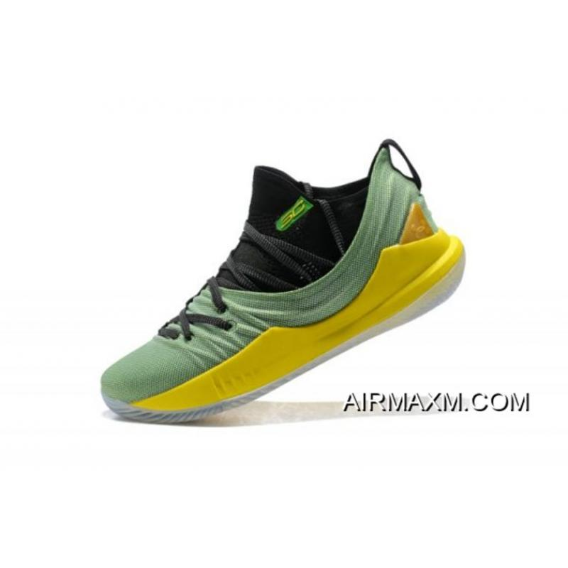 31a5c164b10e Under Armour Curry 5 Low Black Green Yellow Basketball Shoes Super Deals ...
