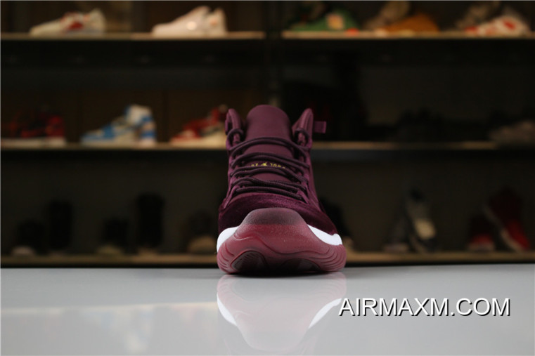 "459408c53da Women/Men Air Jordan 11 Heiress ""Red Velvet"" Night Maroon/Metallic Gold"