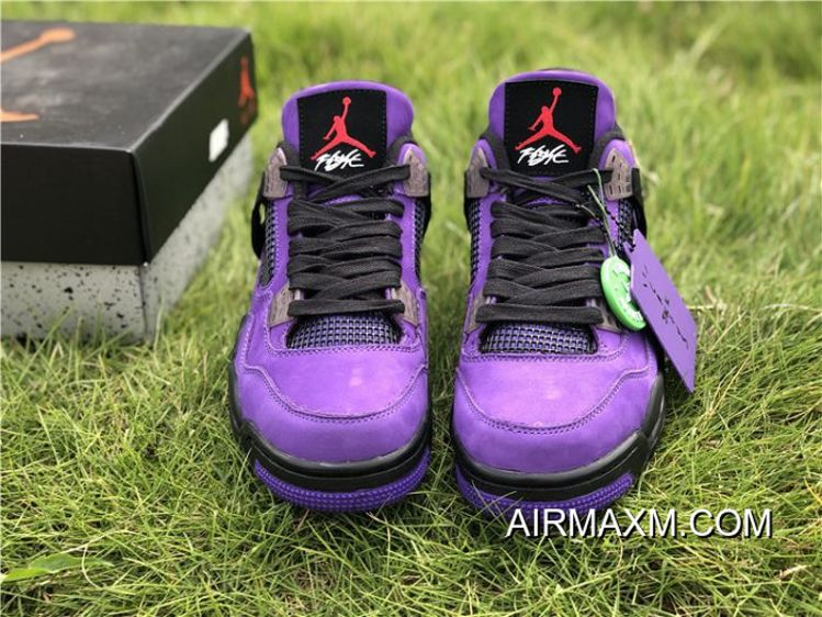 100% authentic 6debe 24339 Men Travis Scott Air Jordan 4 Retro Purple Best
