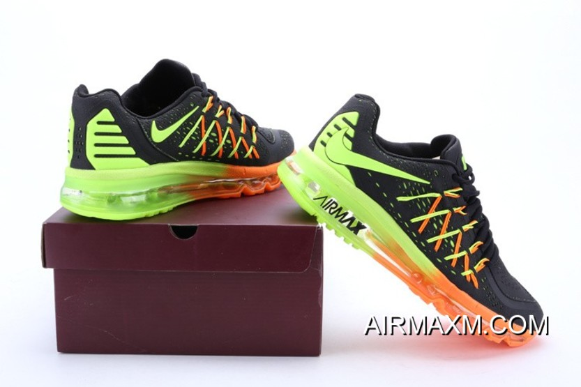 best website 701e2 68c10 New Style Nike Air Max 2015 Men Black Fluorescence Green Running Shoes