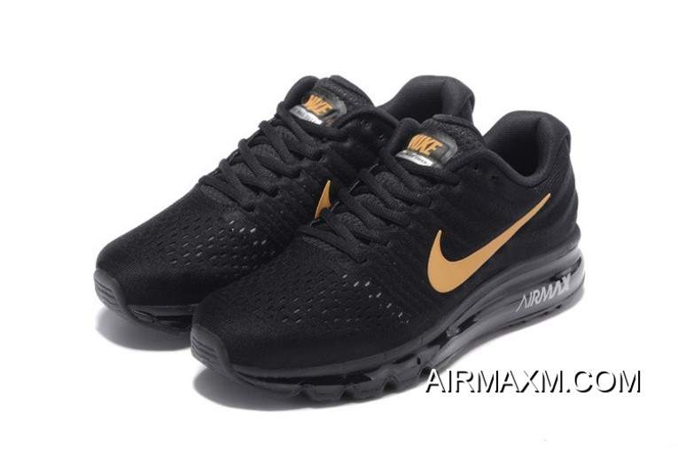 Discount Air Max 2017 Running Shoes All Black Gold