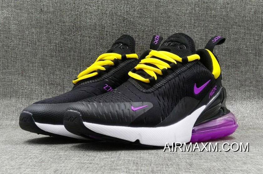 purchase cheap 59371 0b9fa Outlet Nike Air Max 270 Flyknit Women Black Yellow Purple White
