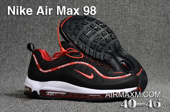 newest 2c472 818ef New Release Off White Nike Air Max 98 Black Red White, Price: $70.18 ...