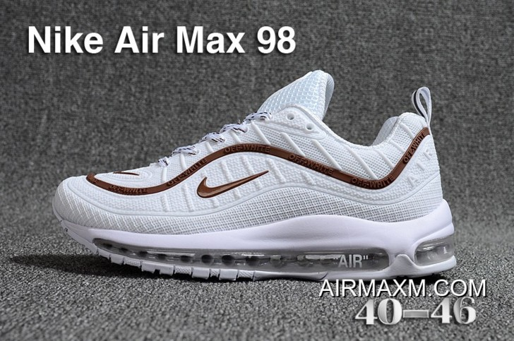 info for 4462f 0cce3 Super Deals Off White Nike Air Max 98 KPU White Brown
