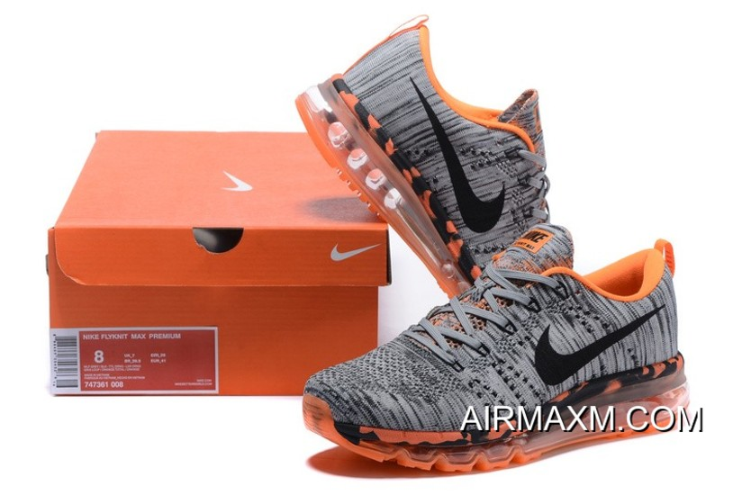save off 8c4f0 9c8fa Grey Orange Black Flyknit Air Max Outlet