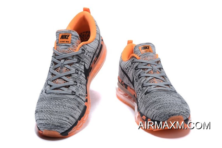premium selection 53861 dba88 New Style Air Max Flyknit Grey Orange Black For Women