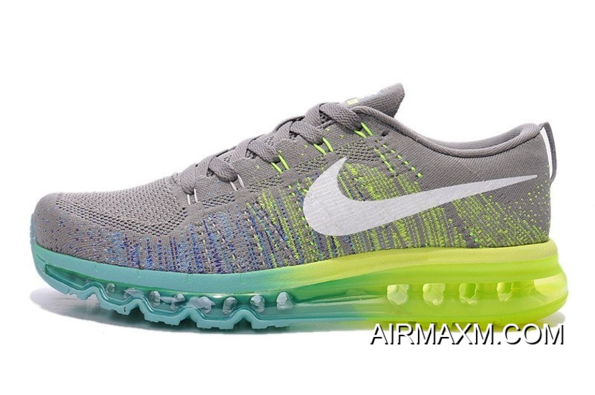 the best attitude 219ba fad93 New Style Women Nike Flyknit Air Max Grey White Blue Green