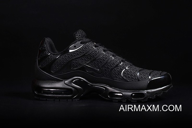 size 40 734db e33ee Nike Air Max TN Leather ALL Black Shoes Super Deals