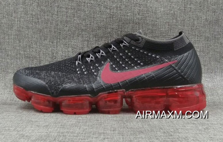 93a8bd0a810c41 Nike VaporMax Flyknit Black Grey Red Buy Now