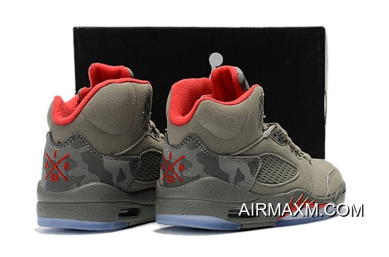 premium selection e0167 8984d Kids Air Jordan 5 Red Army Green Outlet