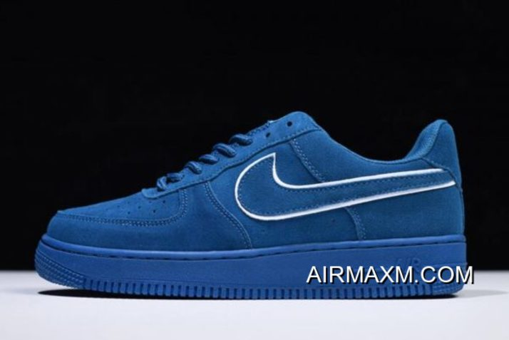 WomenMen Nike Air Force 1 '07 LV8 Suede Blue White AA1117