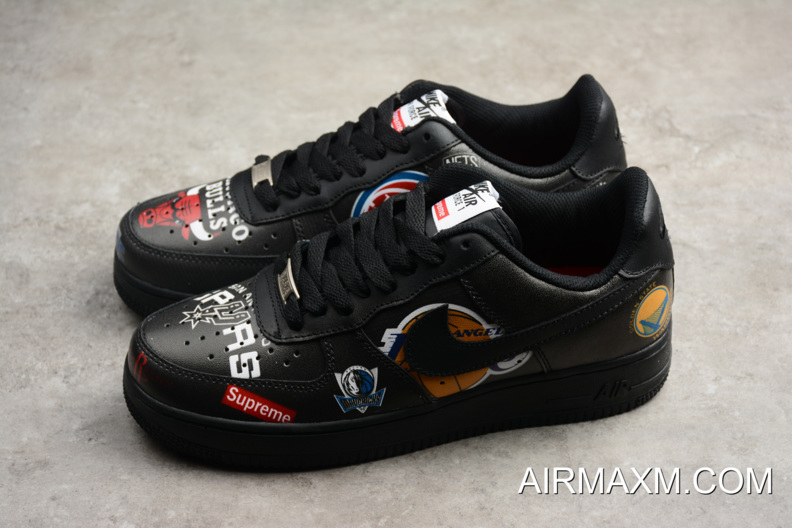 meet 356f0 4b202 Latest Supreme X Nike Air Force 1 Low NBA Black Men's And Women's Size